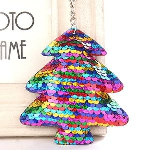 Christmas Tree Key Chain Sequin Multi Color